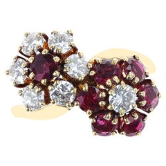Van Cleef & Arpels Double Floral Ruby and Diamond Toi et Moi Ring, 18k Yellow