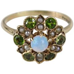 Opal Seed Pearl Peridot Gold Ring