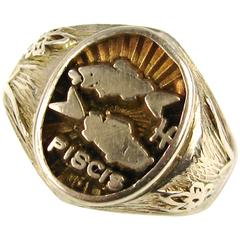 Spanish Pisces Astrology Gold Ring
