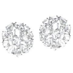 5.87 Ct White Diamond Rose Cut Earrings, 18K White Gold