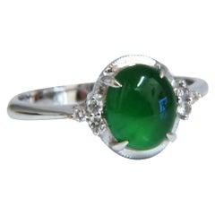 Natural Green Jade Diamonds Ring 18kt Gold