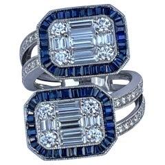 "5.50 Carat Diamond and Sapphire Modern ""Toi et Moi"" Art Deco Style 18k Gold Ring"