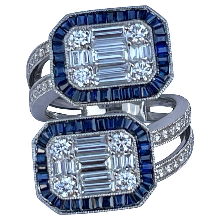 """5.50 Carat Diamond and Sapphire Modern """"Toi et Moi"""" Art Deco Style 18k Gold Ring For Sale"""