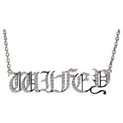 18K White Gold Hip Hop Wifey Diamond Pendant, Graffiti Gangster Font