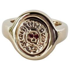 Crest Signet Ring Gold Vermeil Ruby Skull Victorian Style J Dauphin