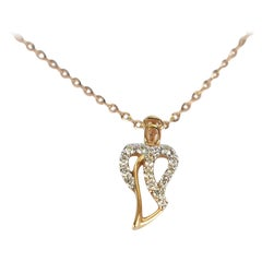 10k 14k 18k Diamond Angle Necklace Minimalist Heart Guardian Angel Necklace