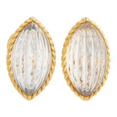 Arfan 18K Yellow Gold Rock Crystal Clip-On Earrings