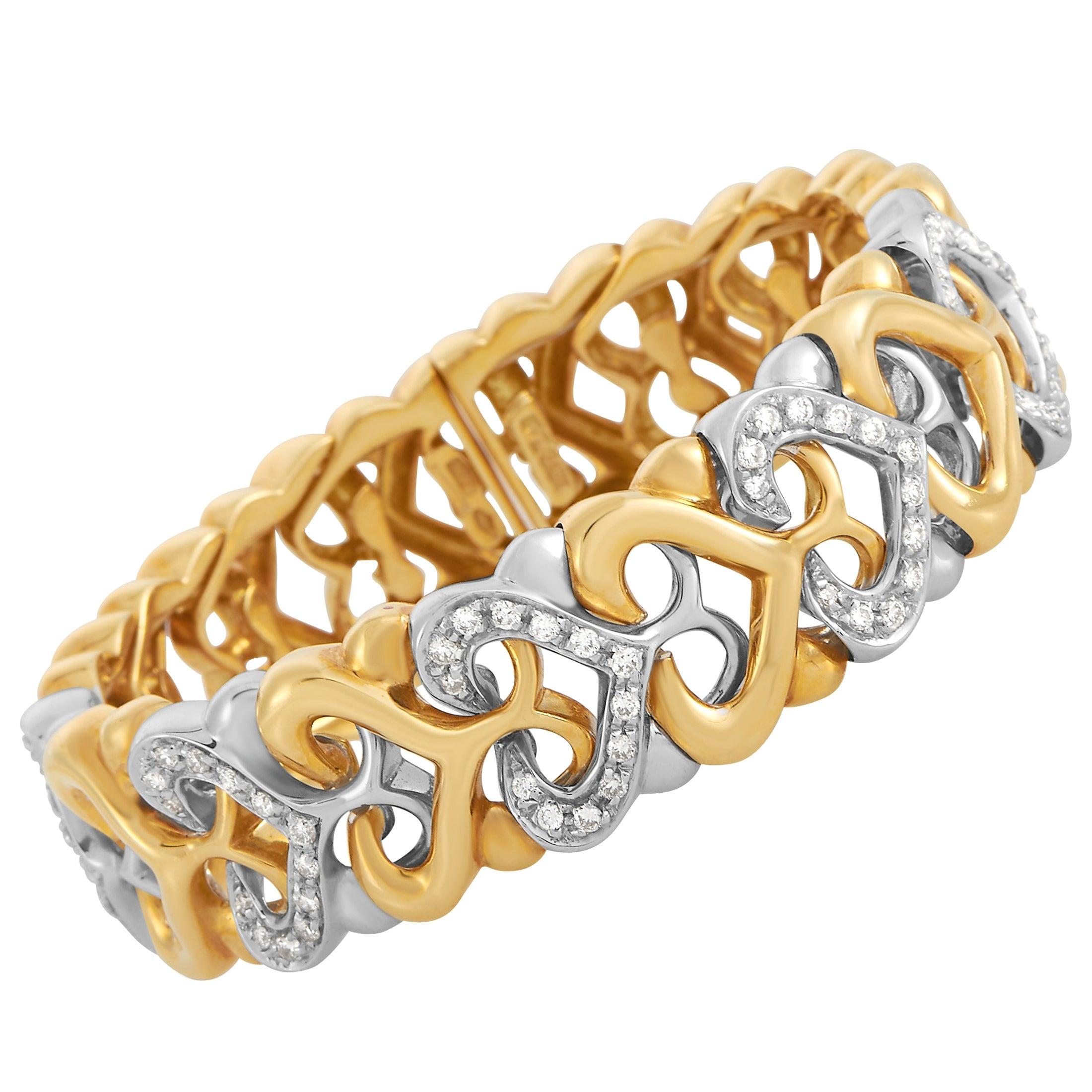 Bvlgari 18K Yellow and White Gold 1.00 Ct Diamond Bracelet