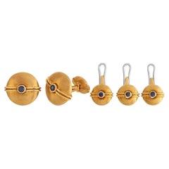 David Webb 18K Yellow Gold Tuxedo Set Cufflinks and Buttons