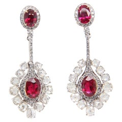 GRS 3 Carat Burmese No Heat 'Pigeon Blood' Ruby and Diamond Earring in 18K Gold