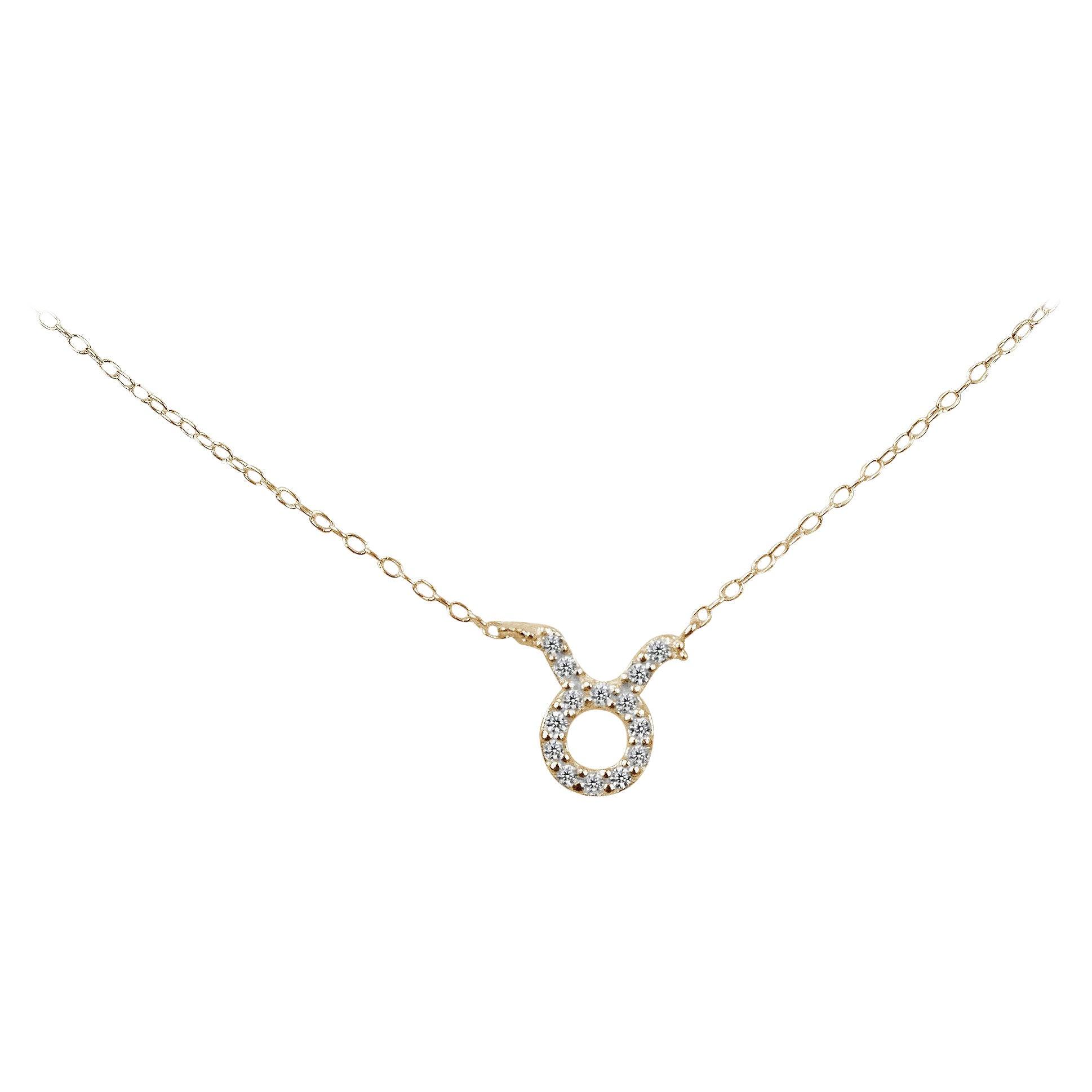 10k 14k 18k Diamond Necklace Taurus Zodiac Sign Gold Zodiac Charm