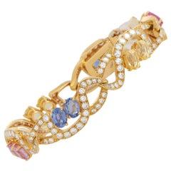 Tiffany & Co. 18K Yellow Gold 6.20 Ct Diamond and Sapphire Bracelet