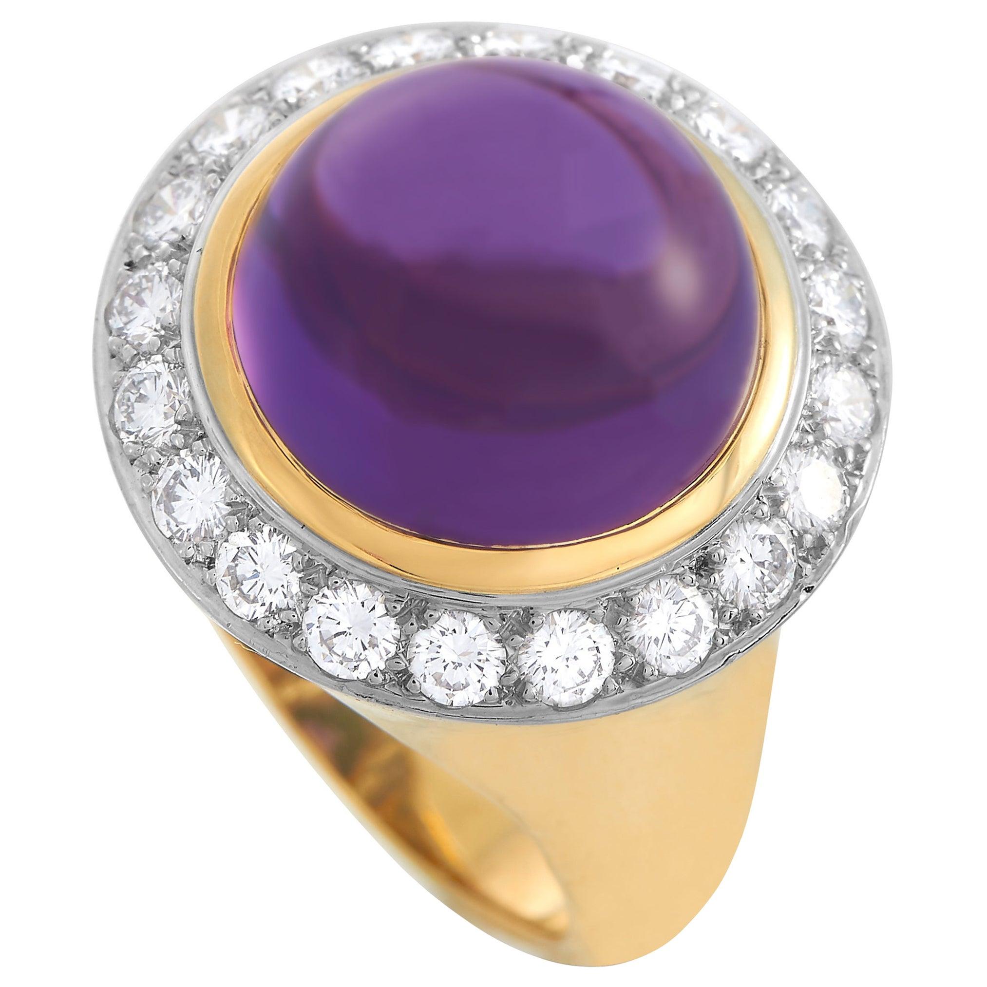 Tiffany & Co. 18K Yellow Gold 1.50 Ct Diamond and Amethyst Ring