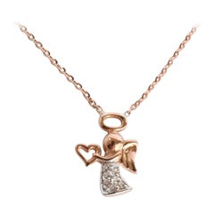 10k 14k 18k Angel Charm Pendent Necklace with 0.05 Cwt. Diamond