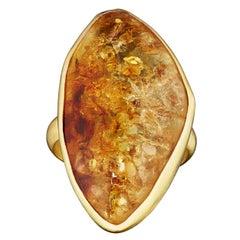 18 Karat Gold Set Around Amber Stone Ring