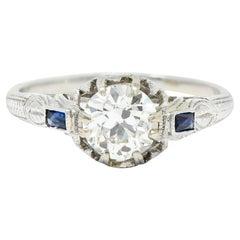 Art Deco 1.23 Carats Diamond Sapphire 14 Karat Gold Foliate Engagement Ring