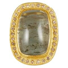 18 Karat Gold Set Around a Large Cabochon Green Tourmaline Ring