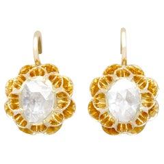Antique 1.36Ct Diamond Yellow Gold Drop Earrings, Circa 1900