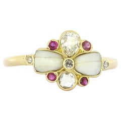 Art Nouveau Floral Diamond Ruby Ring in Yellow Gold