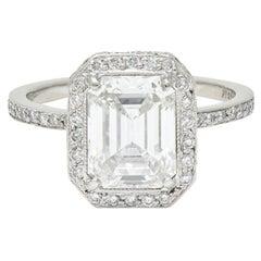 Cartier 3.82 Carats Emerald Cut Diamond Platinum Halo Engagement Ring GIA