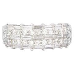 Baguette Diamond Half Eternity Ring in White Gold