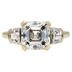 Asscher Cut Diamond Flanked Solitaire Ring, Circa 1950