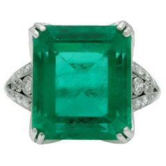 Colombian Emerald and Diamond Ring, French, Circa 1915