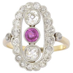 Art Deco Diamond Pink Sapphire Ring in Yellow Gold