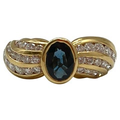 Art Deco Style Cocktail Sapphire and Diamonds Gold Ring