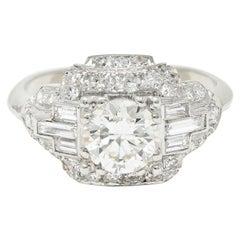 Late Art Deco 2.00 Carats Diamond Platinum Dinner Ring