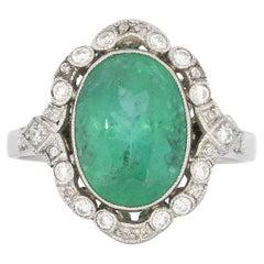 4.17 Carat Antique Style Oval Emerald Diamond Cocktail Platinum Ring