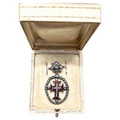 Diamonds and Garnets Cross Templar Military Order of Christ Grand 1600s Brooch