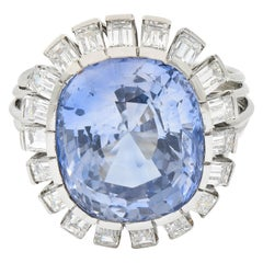 Vintage 16.05 Carats No Heat Ceylon Sapphire Diamond Platinum Cluster Ring
