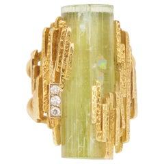 Vintage Yellow Rough Beryl Diamonds 18 Carats Yellow Gold Cocktail Ring