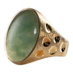 Midcentury Jadeite Men's Ring Certified Untreated