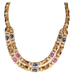 Bulgari Prestige Diamond & Sapphire Necklace in 18K Yellow Gold 7.60 CTW