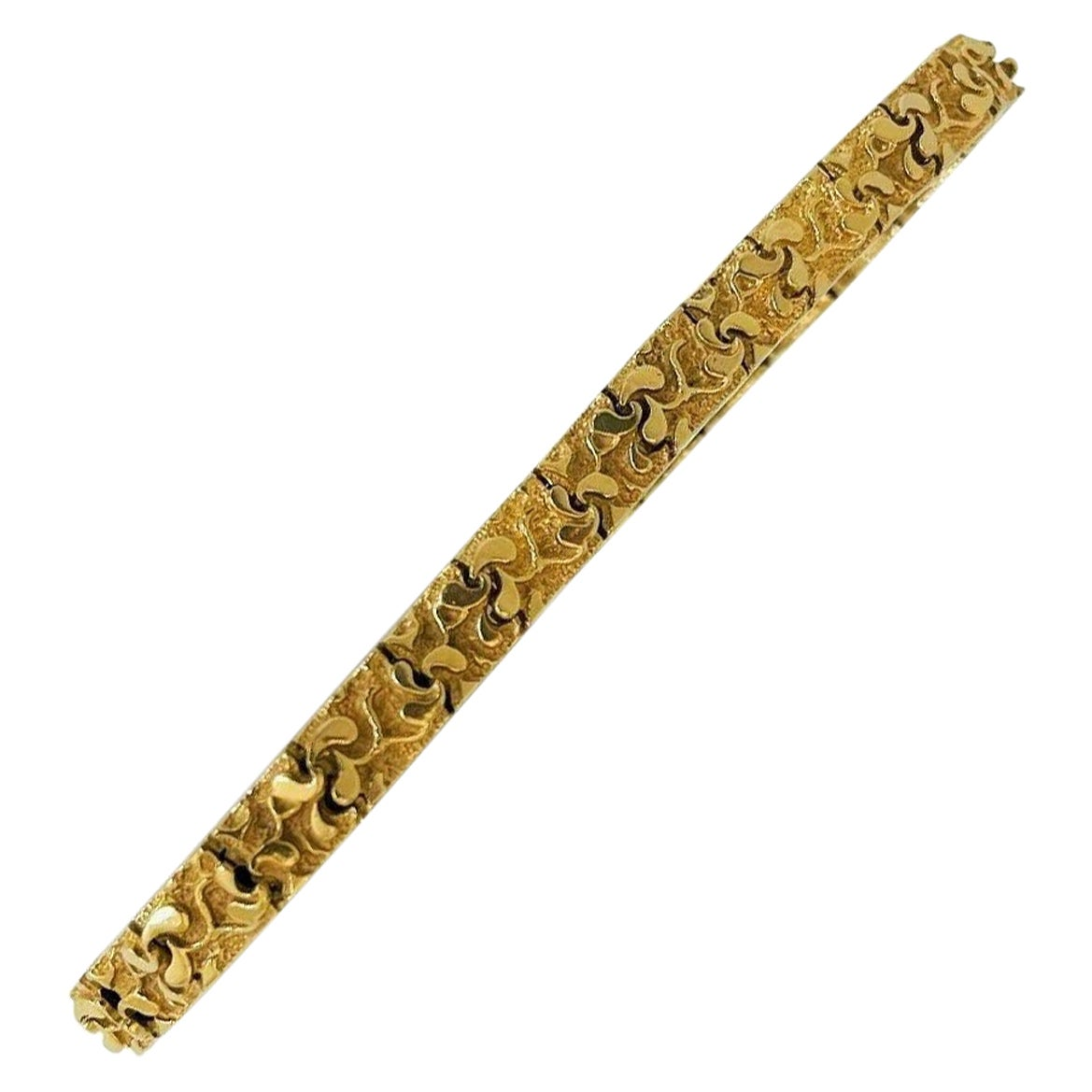 18 Karat Yellow Gold Solid Men's Chunky Nugget Link Bracelet