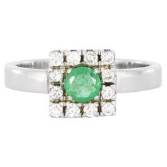 Emerald Diamond Ring in White Gold