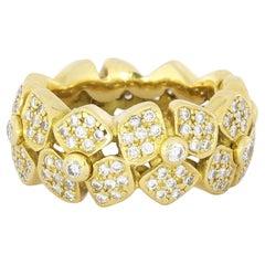 1.47 Carat Floral Yellow Gold Diamond Band Ring