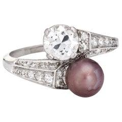 Vintage Art Deco Diamond Pearl Ring Moi et Toi Platinum Engagement Band