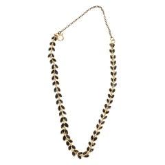 Vintage 14K Yellow Gold Sapphire Leaf Pattern Bracelet