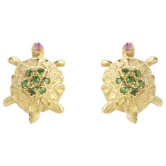 18 Karat Gold Karat Green Tsavorite Handcrafted Turtle Stud Earrings