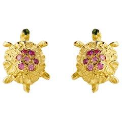 18 Karat Gold Karat Pink Tourmaline little Turtle Handcrafted Stud Earrings