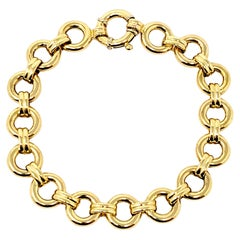 Aaron Basha Polished 18 Karat Yellow Gold Double Bar and Circle Link Bracelet