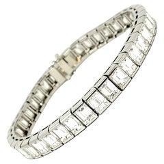 Impressive Baguette Cut Diamond Link Tennis Bracelet Platinum 30.48 Carats Total