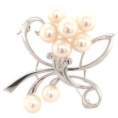 Mikimoto Estate Akoya Pearl Brooch Pin Sterling Silver 7.52 Grams