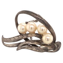 Mikimoto Estate Akoya Pearl Brooch Pin Sterling Silver 5.56 Grams