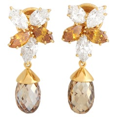 Harry Winston 18K Yellow Gold 6.00 Ct White and Colored Diamond Clip-On Earrings