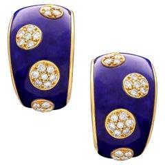 VCA Stylish Vintage 18 Carat Gold Lapis Lazuli Diamond Earrings