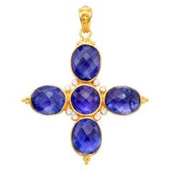 Steven Battelle 21.0 Carats Tanzanites Diamonds 22K Gold Cross Pendant